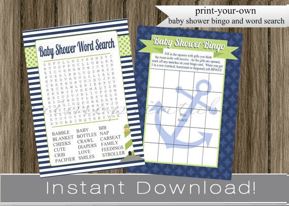 nautical baby shower games bingo and word search cards navy blue, Baby shower invitations