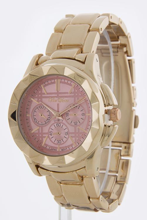 FANCY CASE AND DIAL METAL BAND WATCH -Light Pink