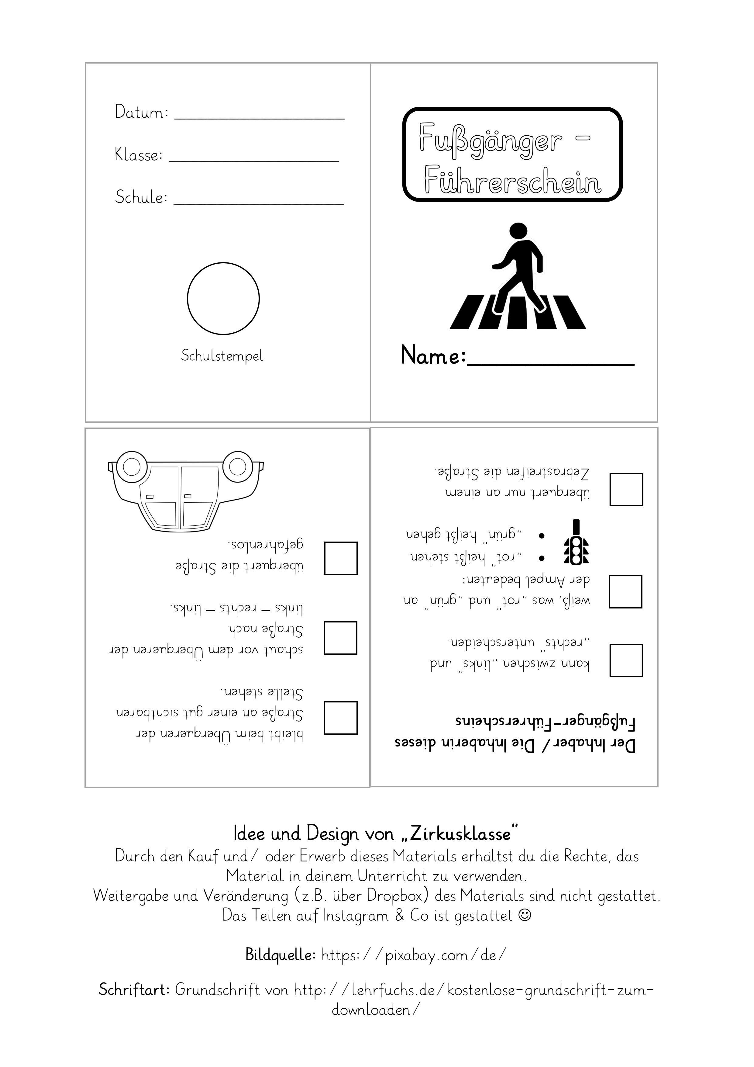Fußgänger Führerschein für jedes Kind – Unterrichtsmaterial im ...