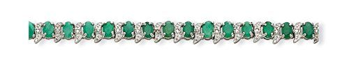 Sterling Silver Emerald and Diamond Bracelet. Gem Wt- 11.25ct