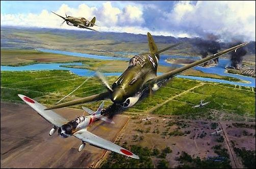 America Strikes Back, Aviation Art by Robert Taylor Ken Taylor in his P-40 tomahawk, with George Walsh in close company, bringing down his second enemy aircraft on December 7, 1941, an Aichi D-3Al ' Val' dive-bomber. In the background palls of smoke rise from Hangar 6 housing the naval float planes, and the up-turned battleship Oklahoma.