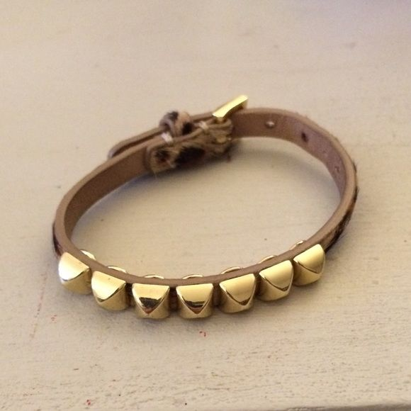 Juicy Couture studded leopard bracelet Leopard print bracelet with gold studs and buckle closure. Adjustable size. Great condition Juicy Couture Jewelry Bracelets