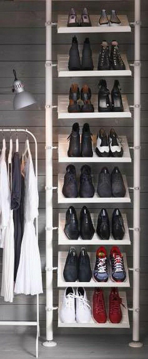 diy regal f r schuhe viele schuhe aufbewahrung pinterest organizing organizations and. Black Bedroom Furniture Sets. Home Design Ideas