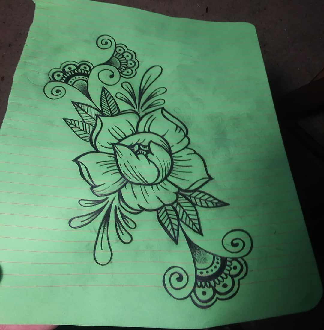 Drew up this design for a tattoo im gonna do in the future...#mandala #peonies #designs #tattoodesigns #artlife #tattooer #bold #traditional #boldlines #nature #hennatattoodesign #filigree #skinart #sketches #freehanddrawing