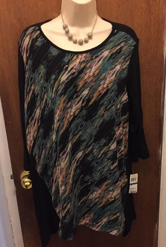 NWT XL K&C Women's Multimedia Printed Hi-Low Black Dress/Shirt Ret. $58  | eBay