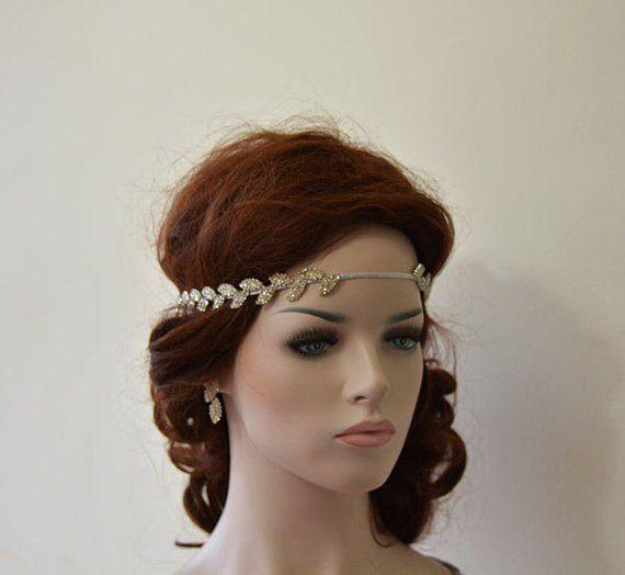 Photo of Strass Stirnband, Brautblatt Blumen Kopfschmuck, griechische Hochzeit Haarschmuck, Kristall Hochzeit Haarteil, Braut Stirn Halo Braut