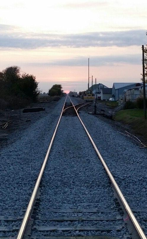 Railroad track at sunset by Patrick Millard.