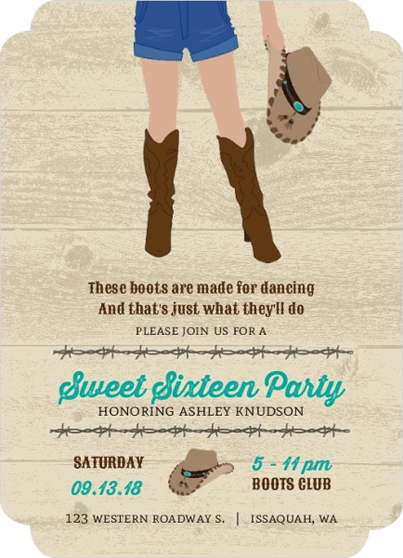 Country Boots Sweet Sixteen Birthday Invitation Design Sweet 16th ...