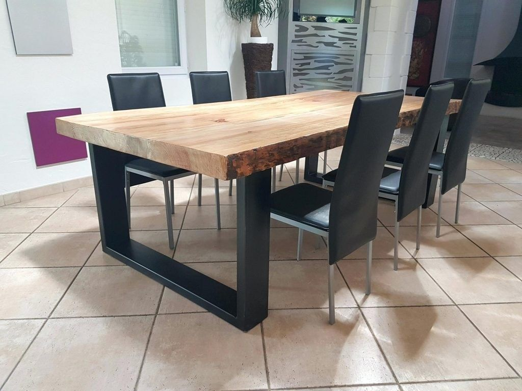 Table Salle Manger Bois Massif Et Metal Pied Noir Carre Carree A Furniture Dining Table Dining Table Industrial Dining Table