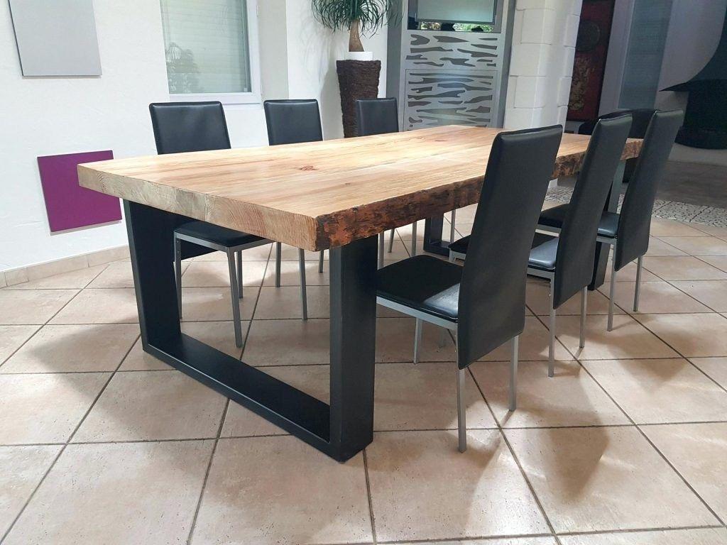Table Salle Manger Bois Massif Et Metal Pied Noir Carre Carree A