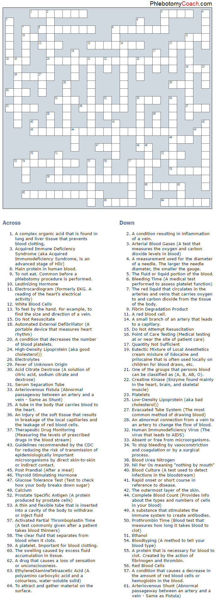 Test Your Knowledge With Our Phlebotomy Related Crossword Puzzle