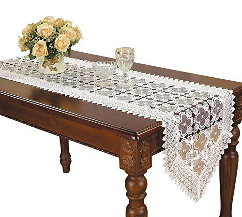 Simhomsen Embroidered White Floral Lace Table Runner 16 By 144