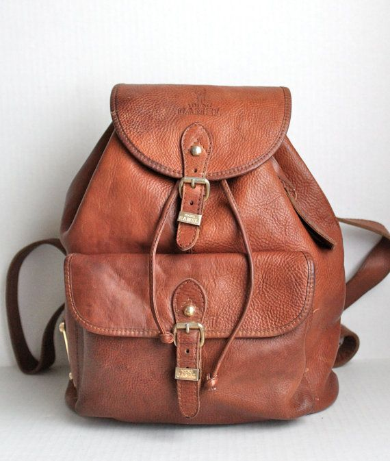 vintage Italian leather xl YOUNG CAMEL backpack // pebbled ...