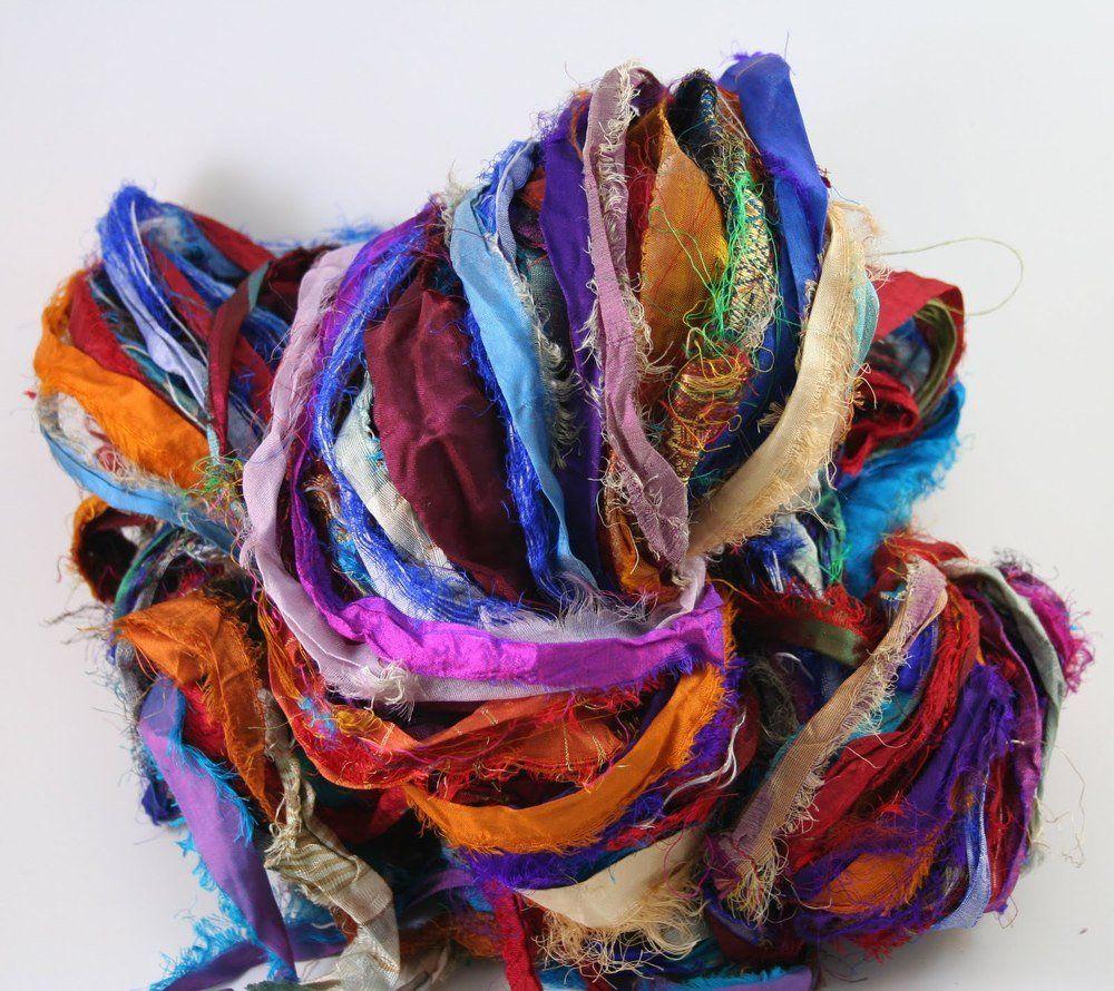 jewelry making purple orange Free s/&h 100g Sari Silk Ribbon craft ribbon yarn