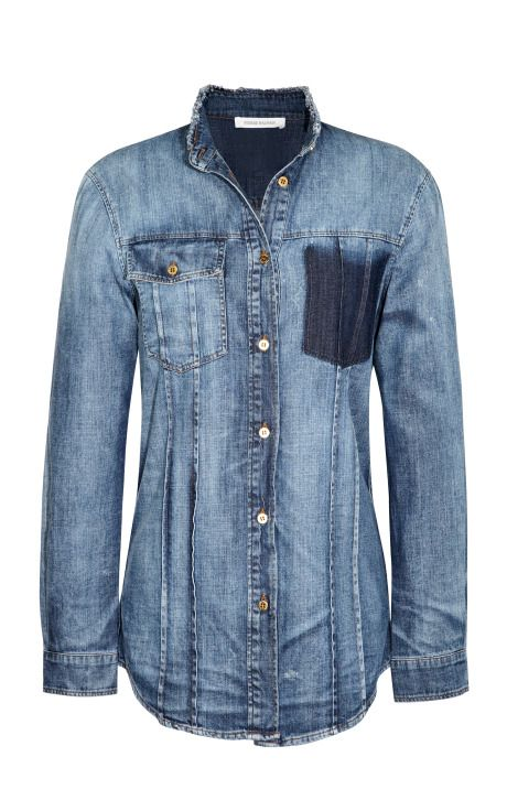 fitted denim shirt by pierre balmain