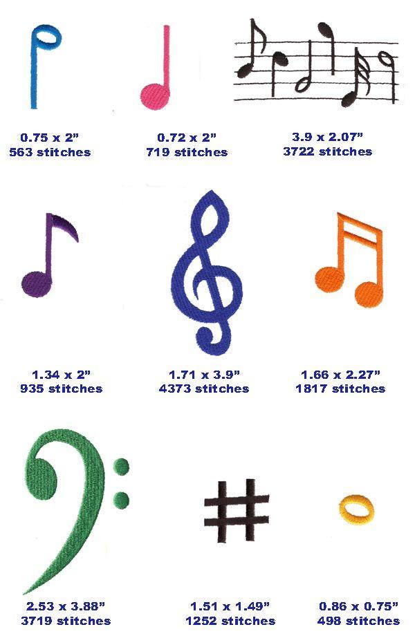 Music In The Hoop Designs Single Designs Musical Note
