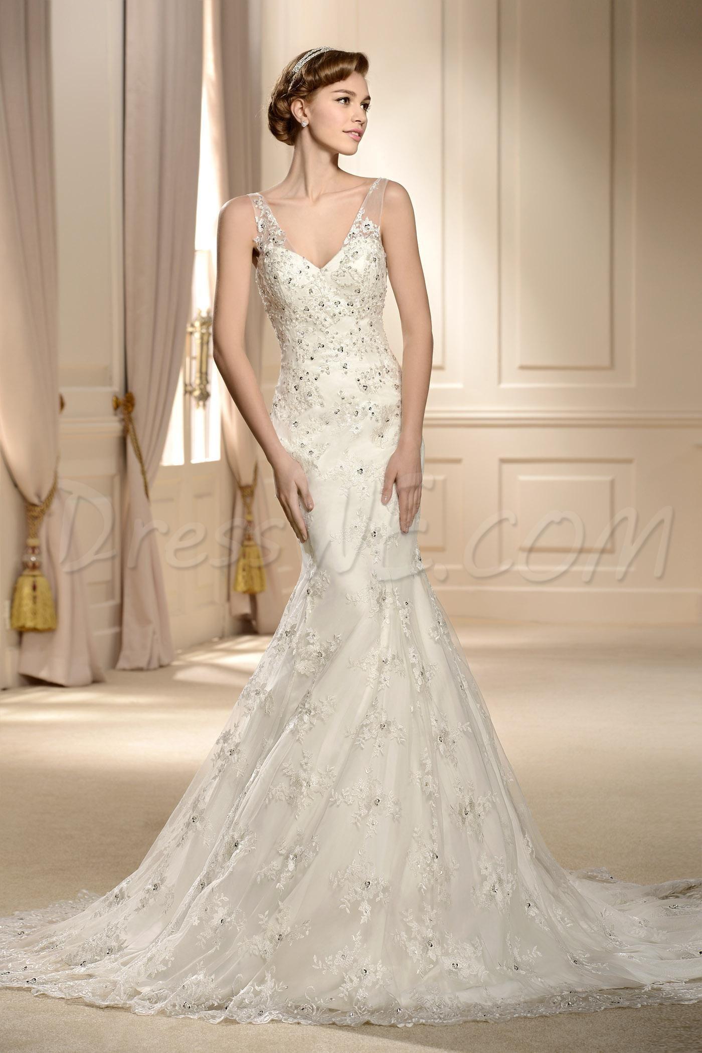 Modest wedding dresses under 200   Dressweサプライ品エレガントなVネックトランペット