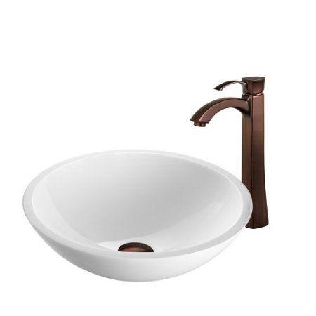 Vigo VGT208 16-1/2 inch Glass Bathroom Vessel Sink with Otis Single