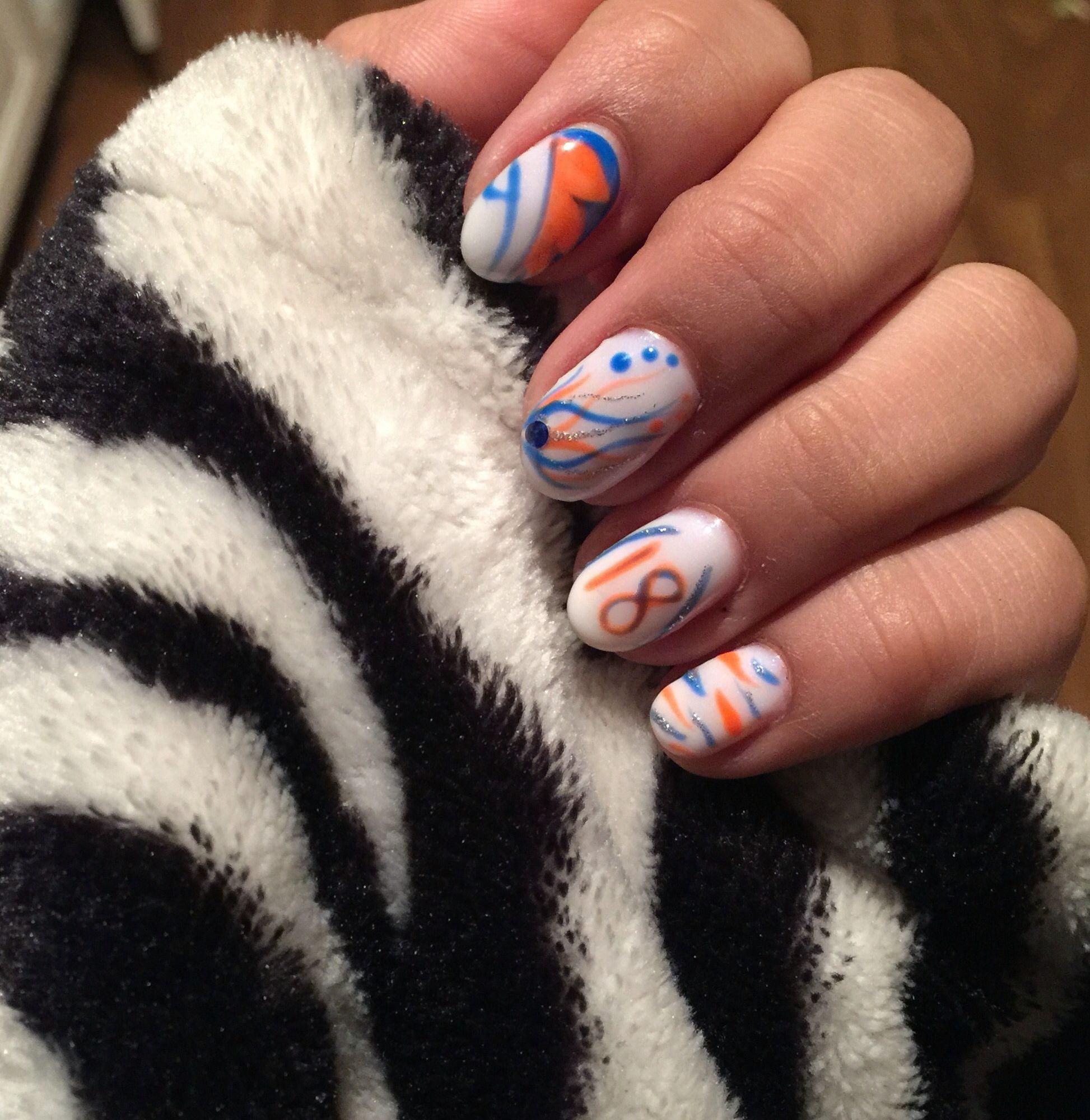 Denver Broncos Nail art theme   Denver Bronco nail art   Pinterest ...