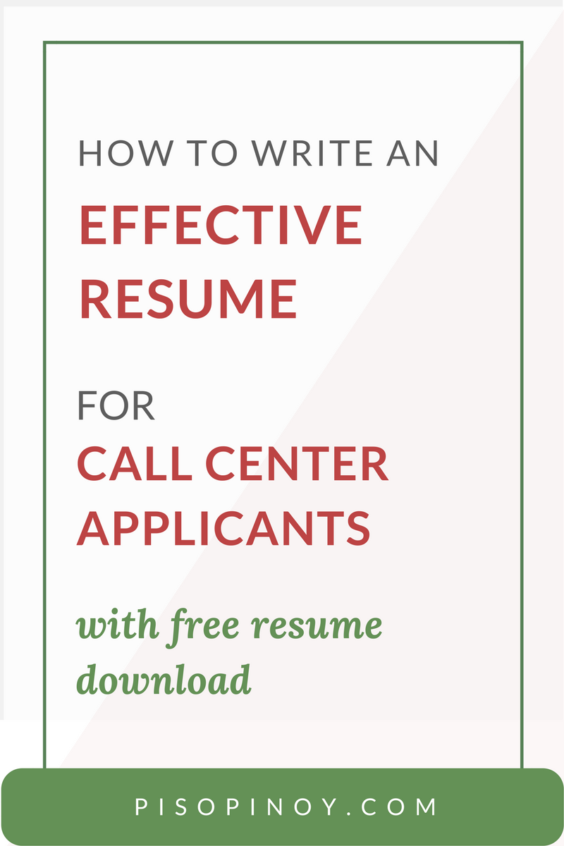 Call Center Resume How to Write an Effective One for