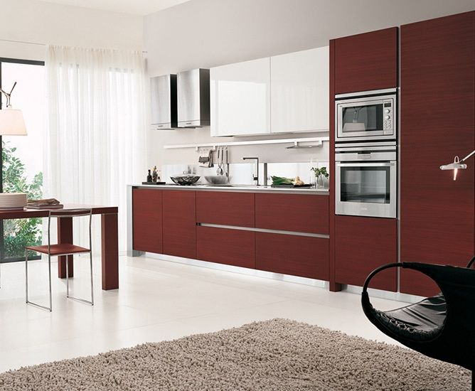 Cocina Lineal Blanca Roja Carma Png 668 550 Cocina Lineal Cocinas