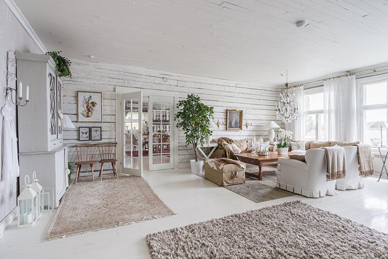 A Log House In Finland With Rustic Scandinavian Interiors Interior Country Living Room Interior Deco