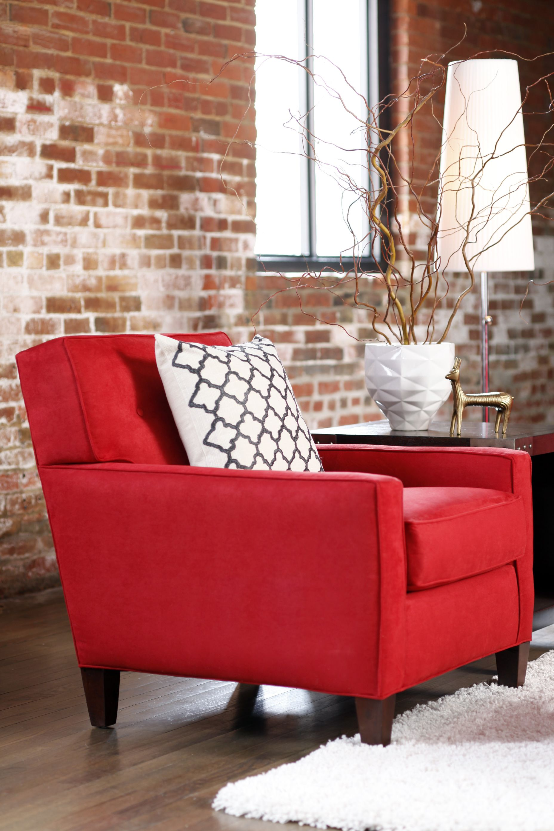 Don T Be Afraid To Add A Punch Of Color In Your Home You Can Do It So Easily With An Accent C Red Furniture Living Room Red Chair Living Room Red