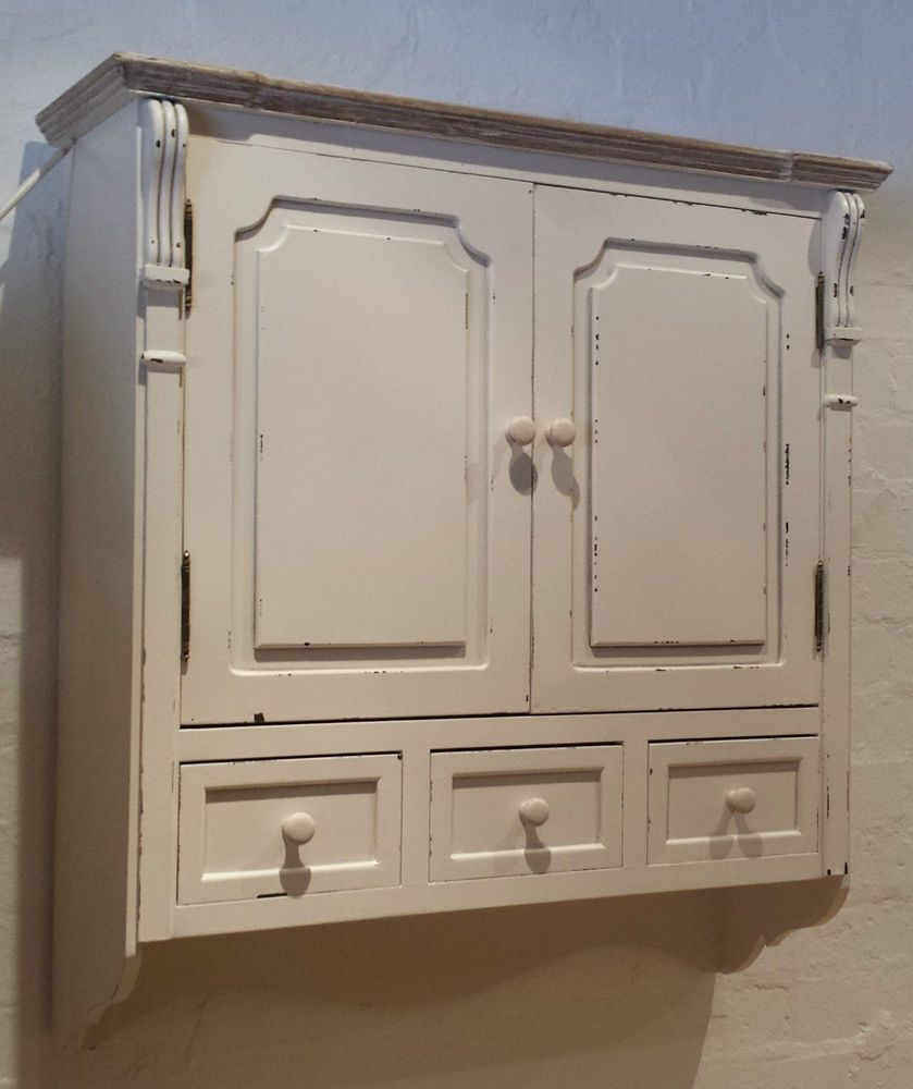 vintage chic off white antique effect wall cabinet shabby paint bathroom kitchen