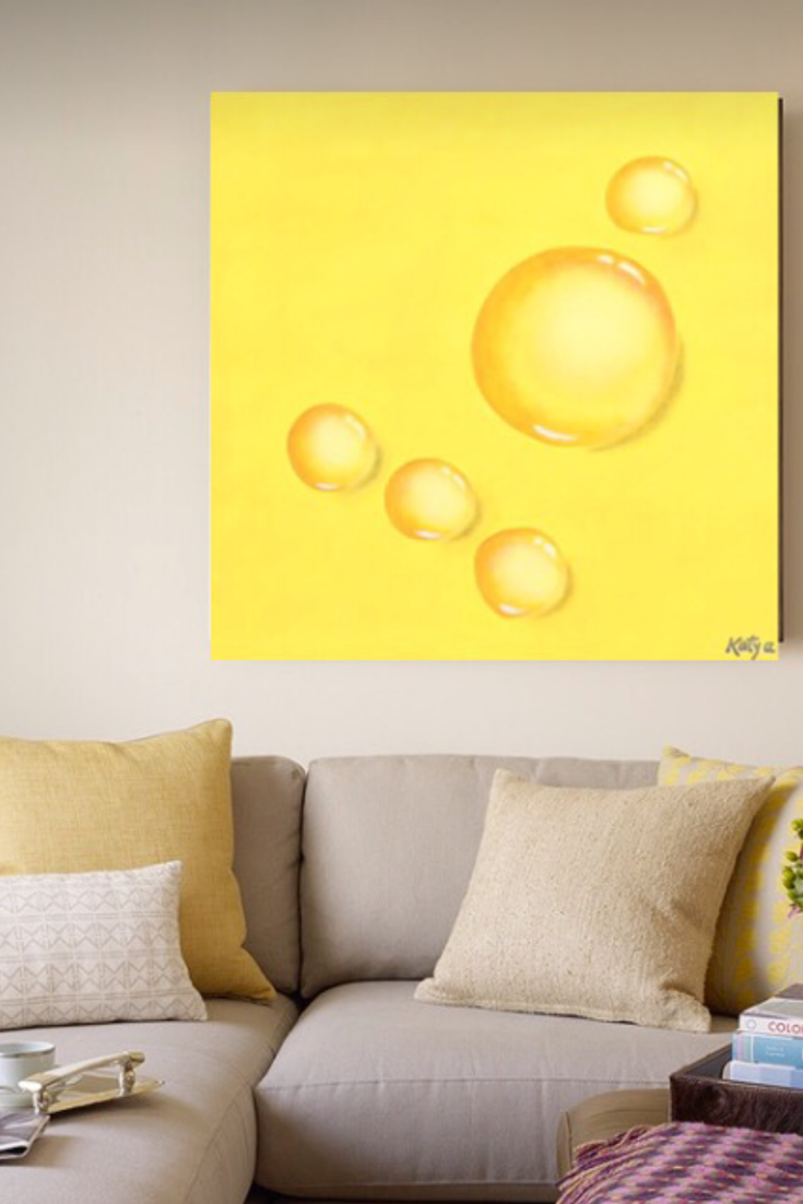 Yellow water drop living room wall art. Reflections in Yellow fine ...