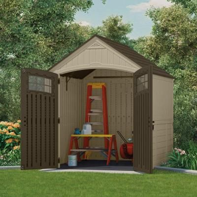 Suncast Sutton 7 ft. 3 in. x 7 ft. 4.5 in. Resin Storage Shed & Suncast Sutton 7 ft. 3 in. x 7 ft. 4.5 in. Resin Storage Shed ...
