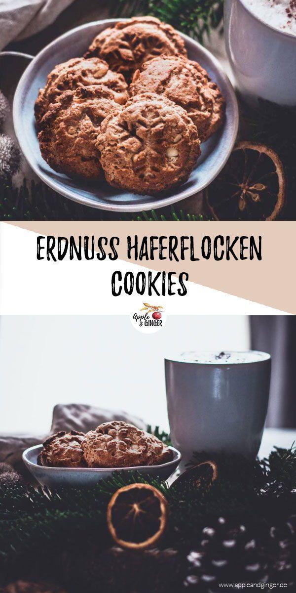 Leckere Haferflocken-Erdnuss-Cookies, die nicht nur super gut schmecken, sondern auch gesund sind! Die machen sich wunderbar auf jedem Weihnachtsteller!    #vegan #veganbacken #weihnachten #plätzchen #gesundbacken #plätzchenrezept #cookie #cooki