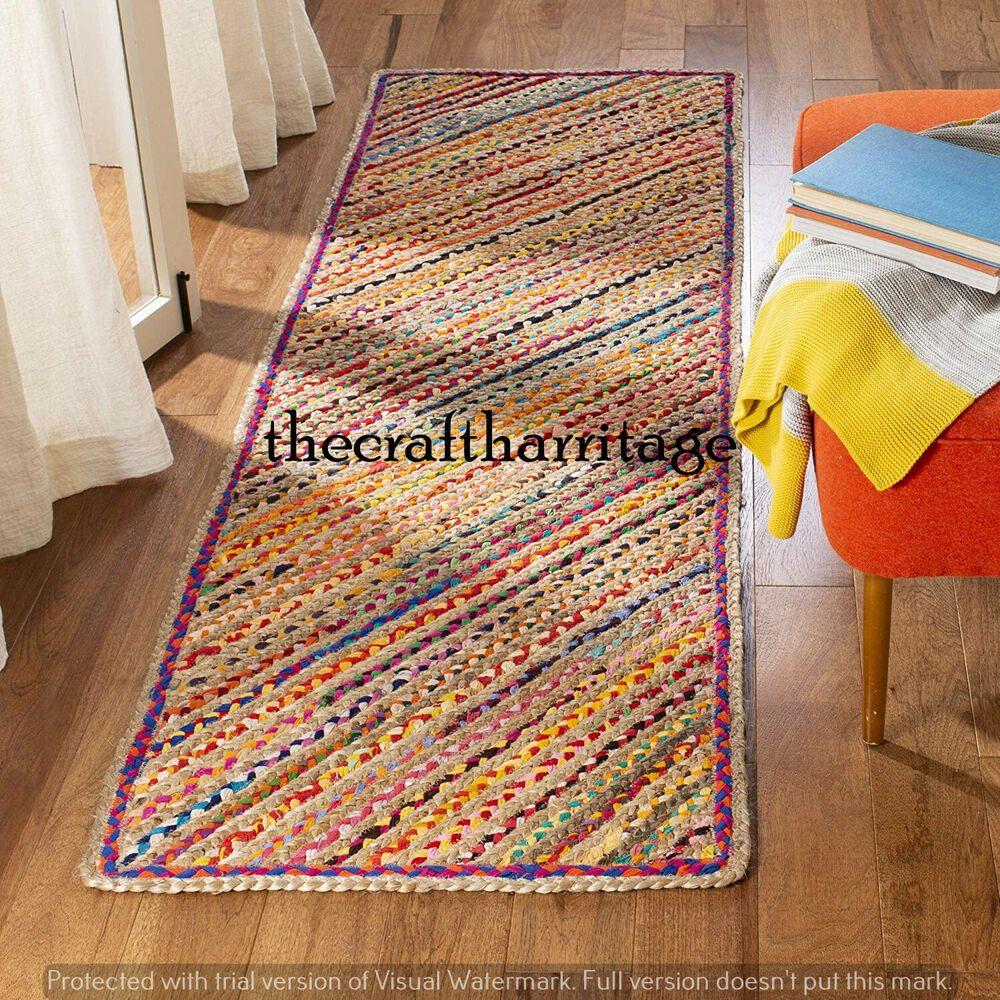 Floor area runner Natural color ecofriendly mat Amish handmade natural jute rug Unique patterned rag rug