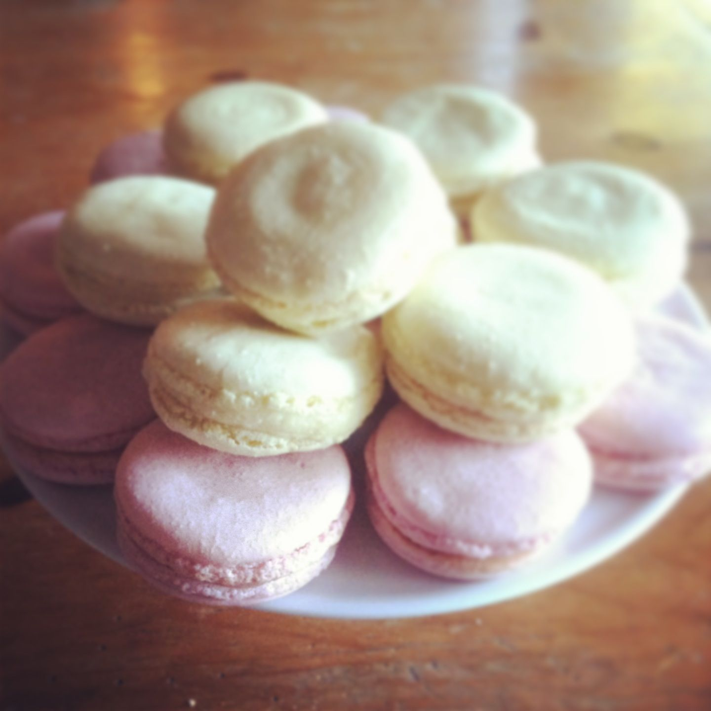 From Bouchon Bakery cookbook.  Very labor intensive, but if you are going to make macarons, this is the recipe to trust.  These are raspberry and lemon.