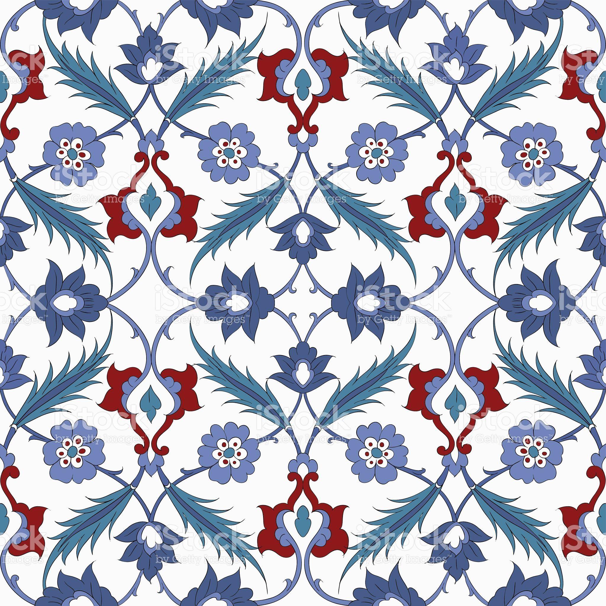 Traditional Arabic Ornament Seamless Floral Ornamental Pattern Iznik Vector Background