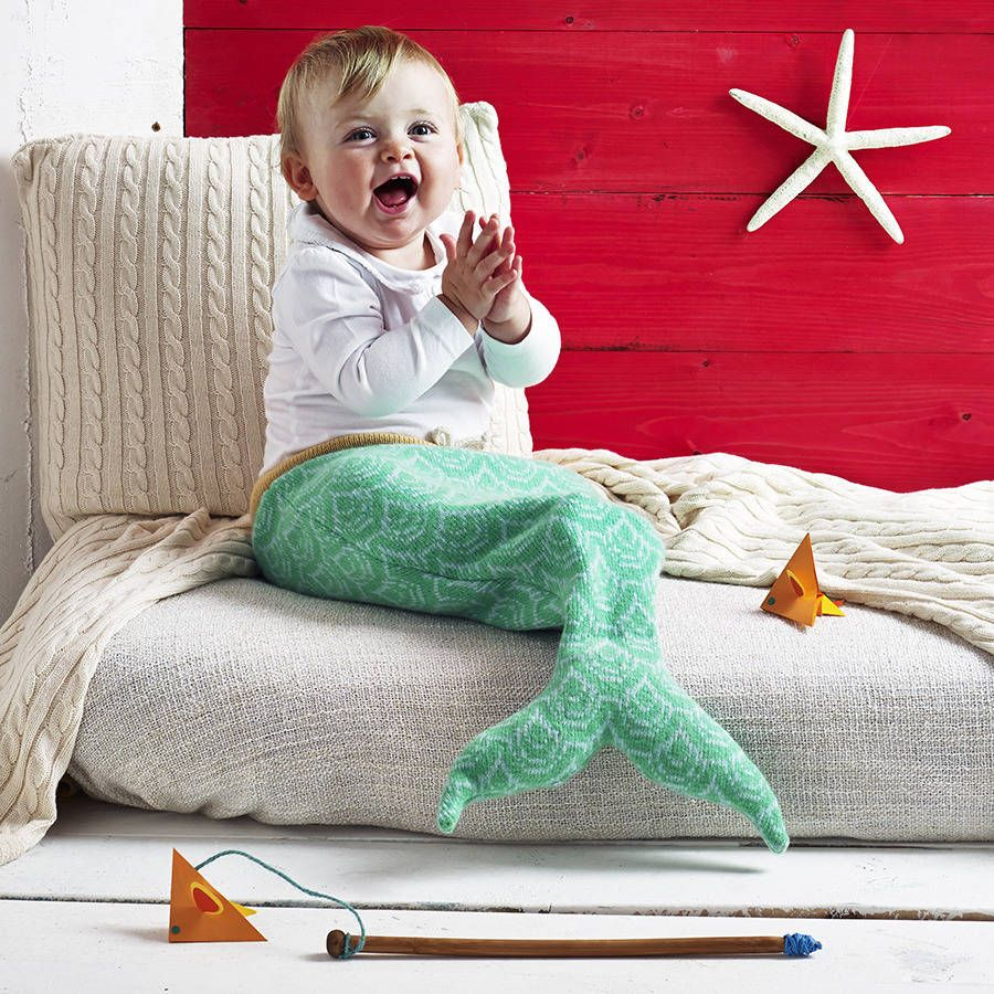Knitted Mermaid Sleeping Bag Vests Tissue Paper And