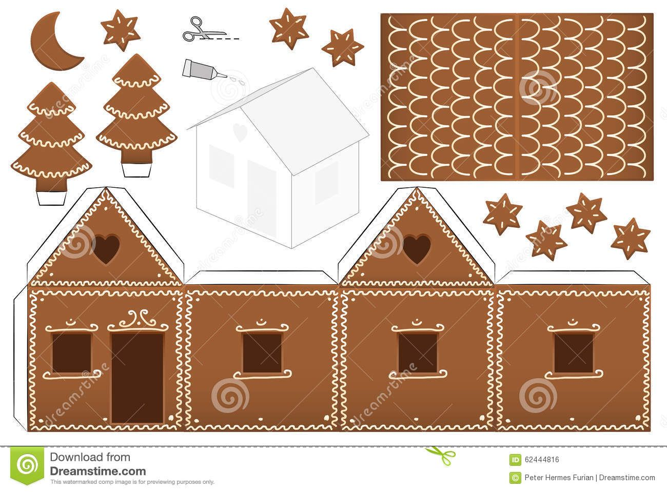 Gingerbread House Template Stock Photos, Images ...