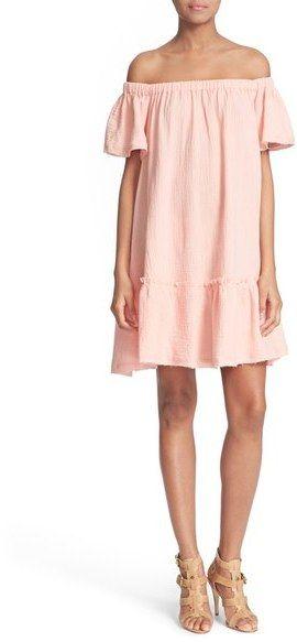 e2758b21822 Rebecca Taylor Off the Shoulder Cotton Swing Dress