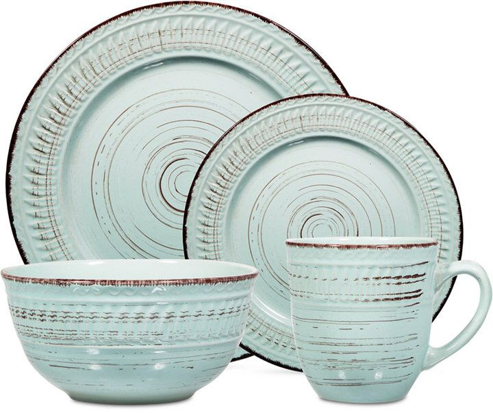 Boasting distressed blue tones and chocolate brown patterns the Aqua dinnerware set from Home Essentials  sc 1 st  Pinterest & Boasting distressed blue tones and chocolate brown patterns the ...