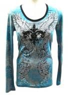 Rayon polyester blend long sleeve tshirt with wings and fleur de lis design.