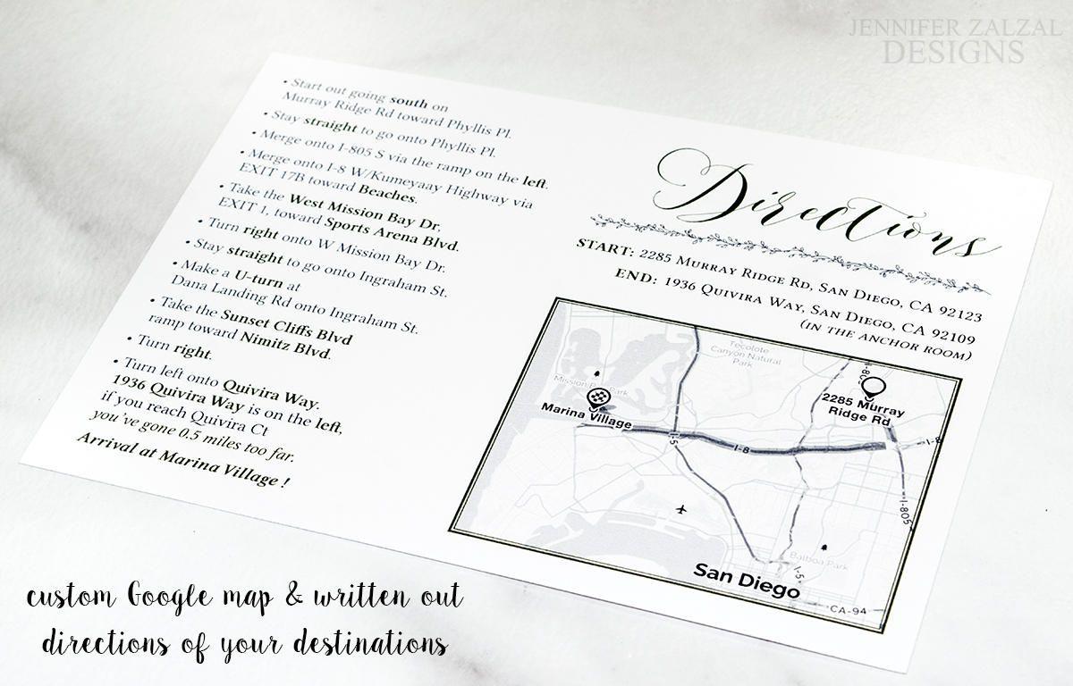 Custom Map Card. Reception Directions. Wedding Driving