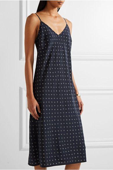 Cheap Sale Outlet Printed Silk Crepe De Chine Slip Dress - Navy Vince Sale Professional J4YxWmc4a