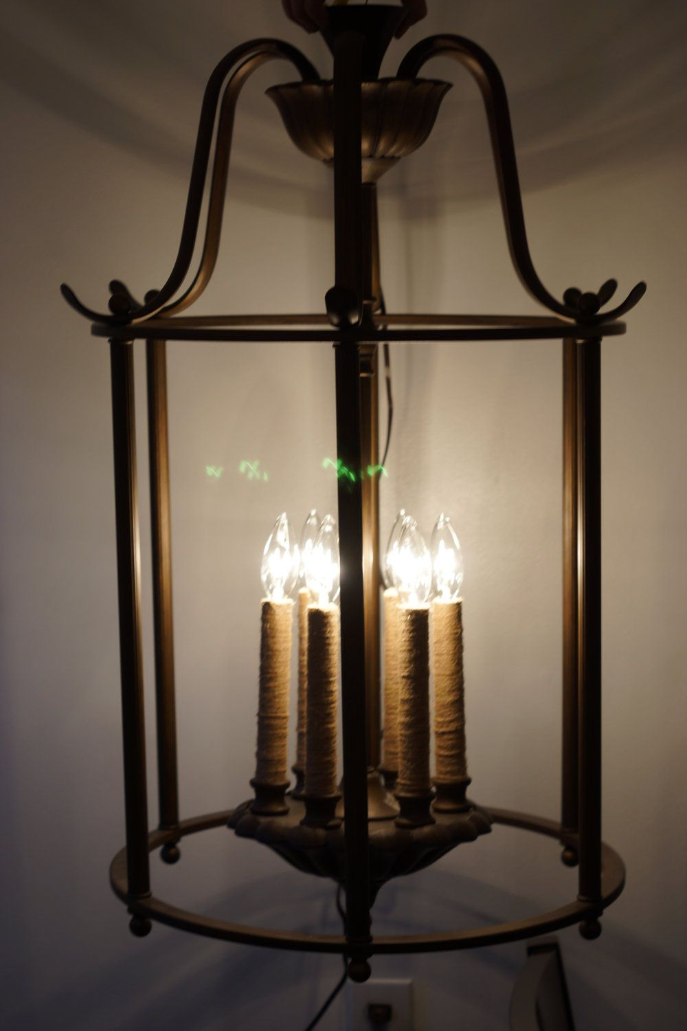 Lighting Basement Washroom Stairs: Large Hanging Entryway Ceiling 6 Candle Light Fixture $250