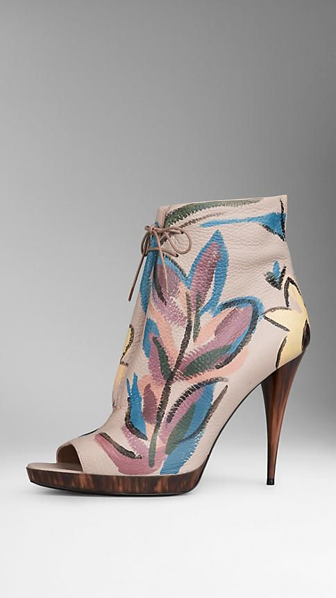 Hand-Painted Leather Ankle Boots   Burberry