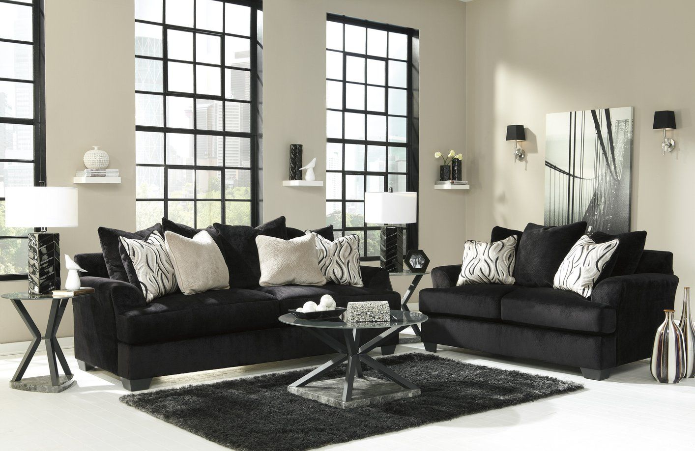 Add Style And Beauty To Your Living Area With A Black Fabric Sofa It Is