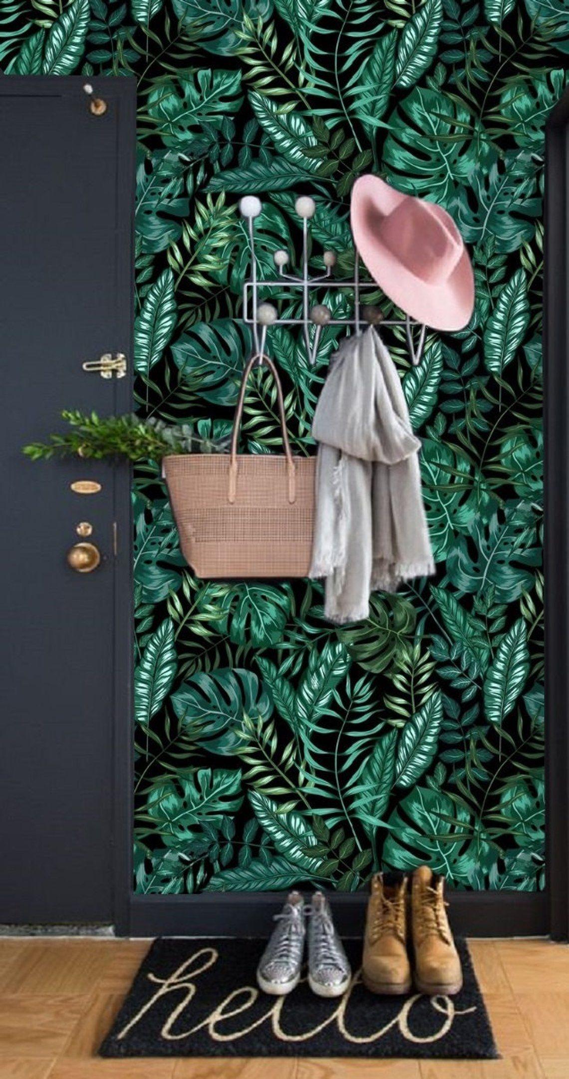 Peel and Stick Wall Paper, Dark Leaf Wallpaper Wall Mural