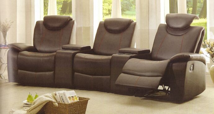 5 pc talbot collection black bonded leather match upholstered theater seating sectional with adjustable headrests : leather theater seating sectionals - Sectionals, Sofas & Couches