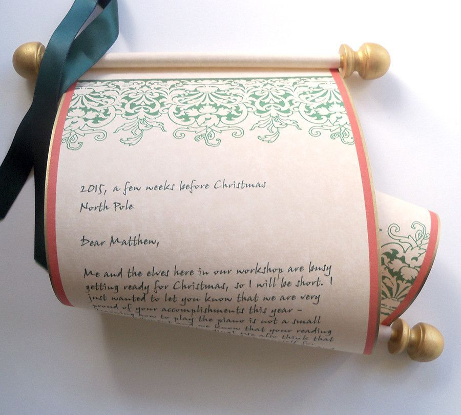 Vintage Letter From Santa Claus On Parchment Paper Scroll  Santa