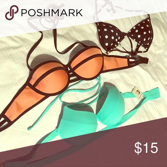 Bikini Tops A size bikini tops. Never worn. Sell together for $15 or $10 each Victoria's Secret Swim
