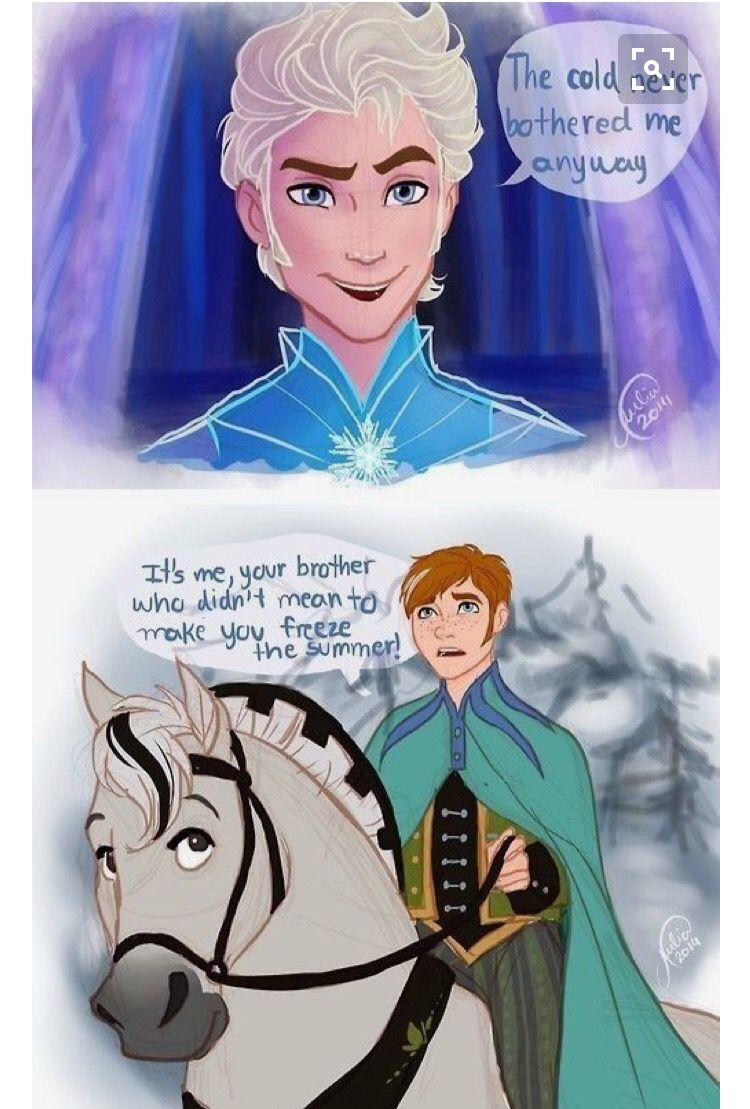 Gender swap frozen Disney fan art, Disney elsa, Jack frost