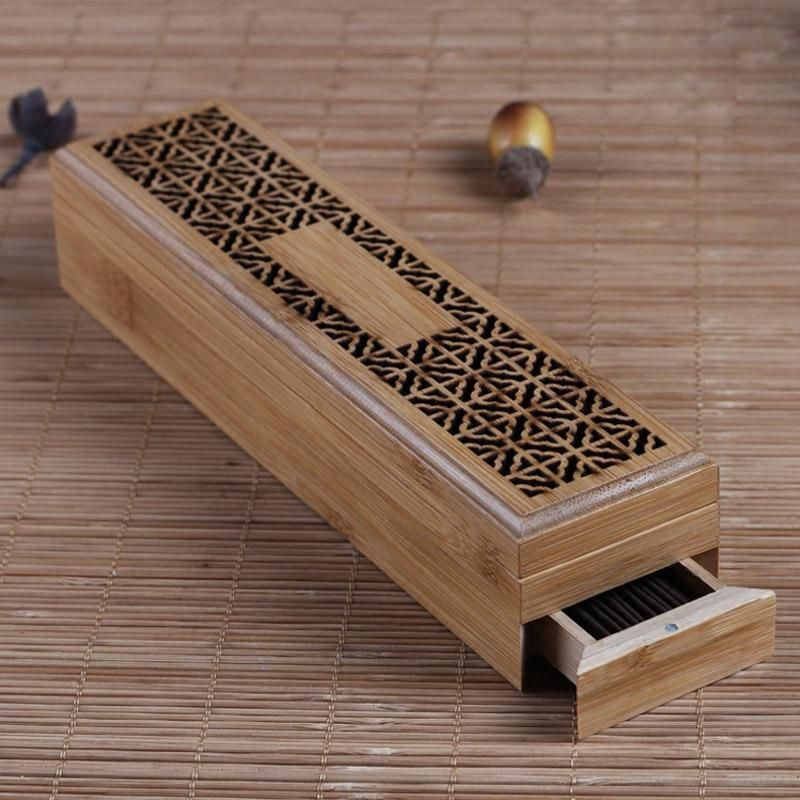 Bamboo Incense Burner Incense Stick Holder With Drawer Joss Stick Box Hollow Aromatherapy Zen Lying Censer Incense Sticks Holder Incense Burner Incense Sticks